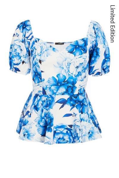 Blue Floral Sweetheart Peplum Top